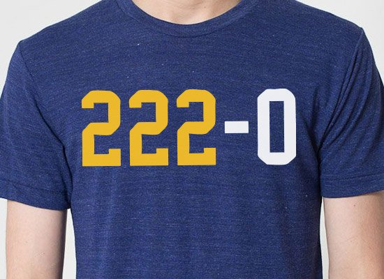 222 - 0 on Mens T-Shirt