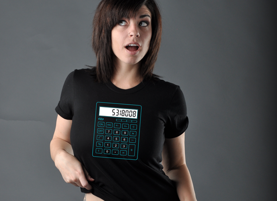 5318008 Calculator on Juniors T-Shirt