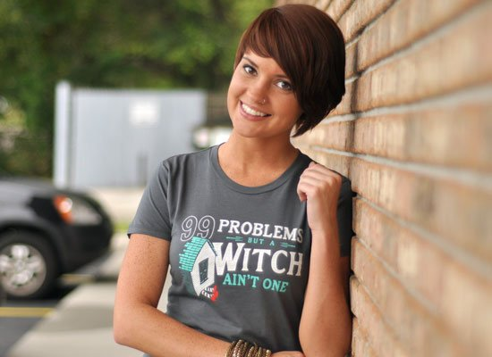 99 Problems But A Witch Ain't One on Juniors T-Shirt