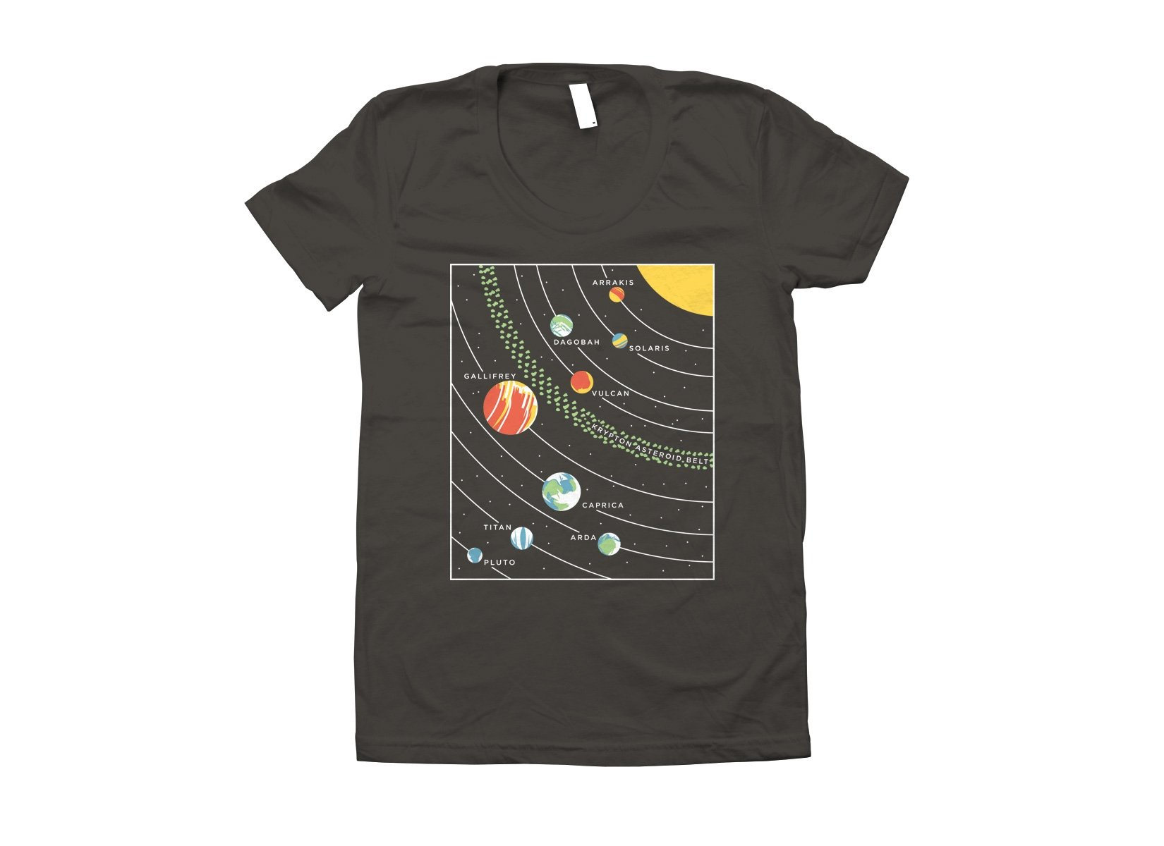 9 Planets on Juniors T-Shirt