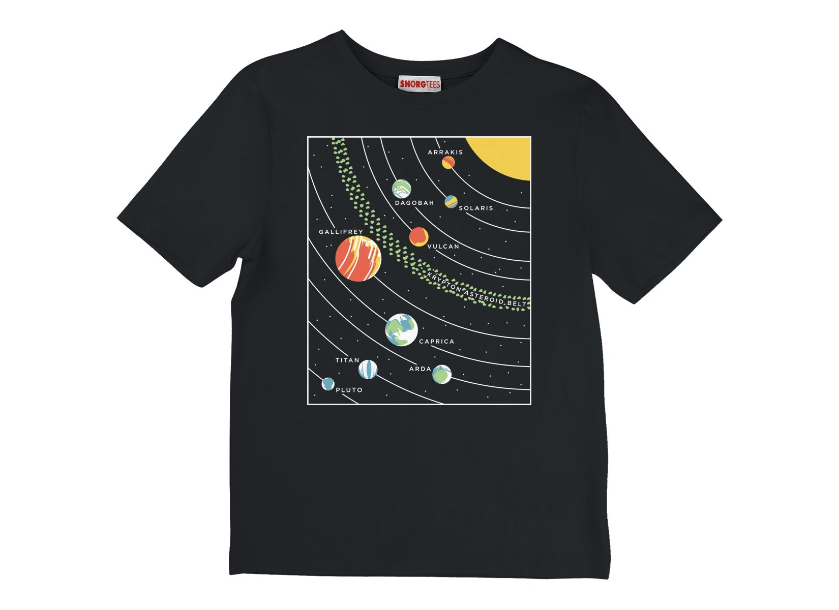 9 Planets on Kids T-Shirt