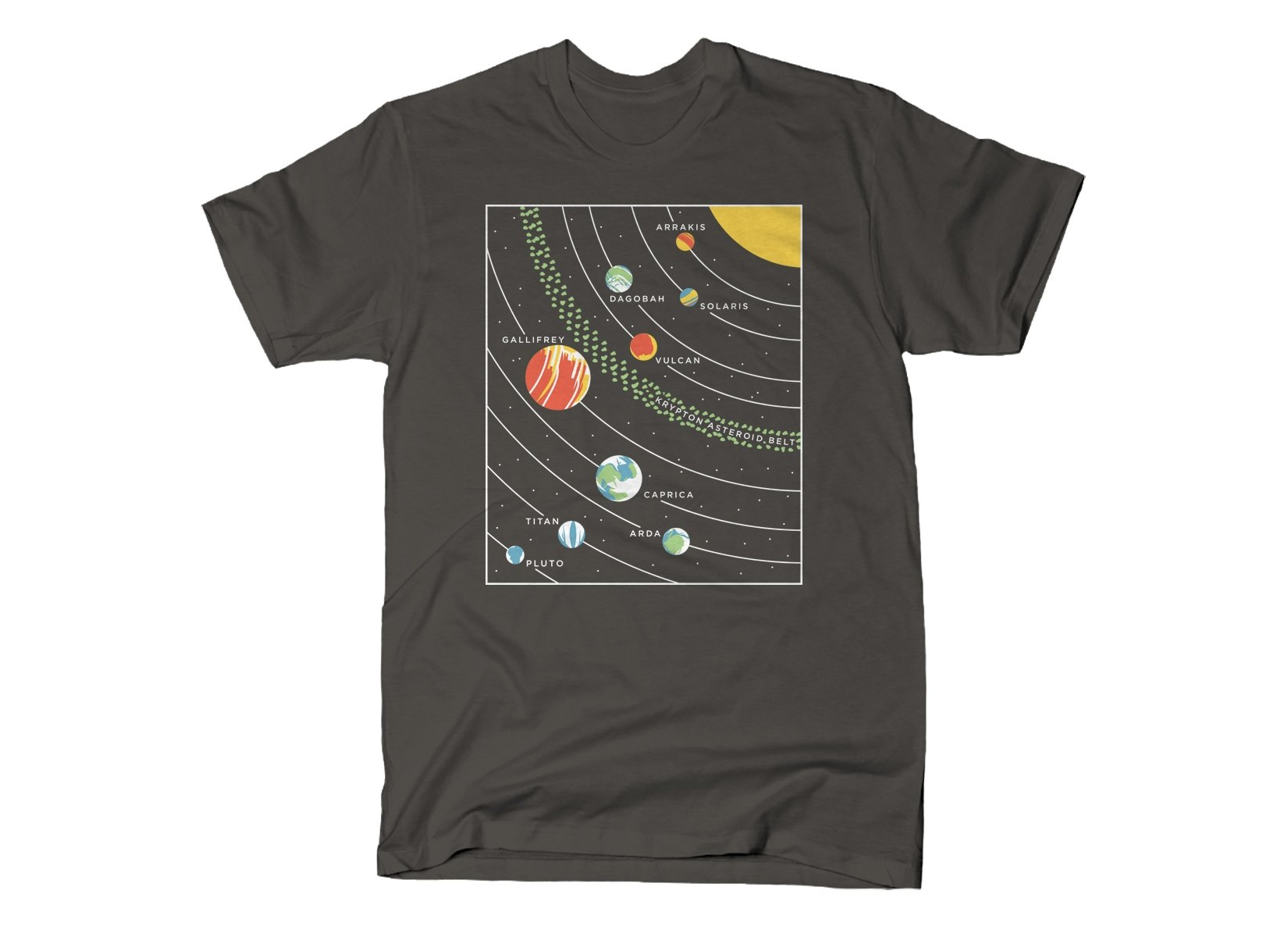 9 Planets on Mens T-Shirt