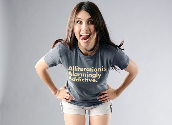 Alliteration Is Alarmingly Addictive on Juniors T-Shirt