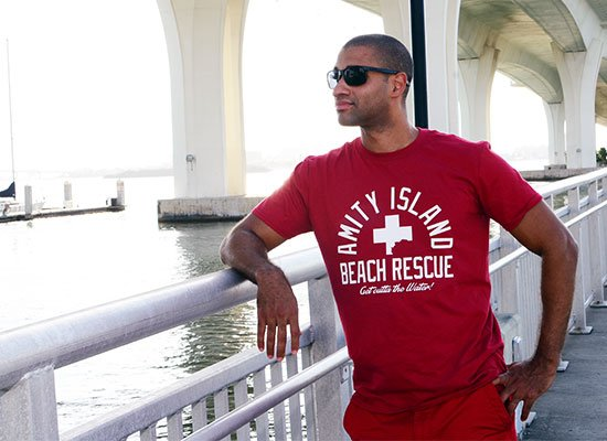 Amity Island Beach Rescue on Mens T-Shirt
