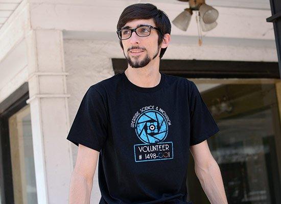 Aperture Science Volunteer on Mens T-Shirt