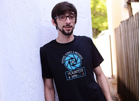 Aperture Science Volunteer on Mens T-Shirt