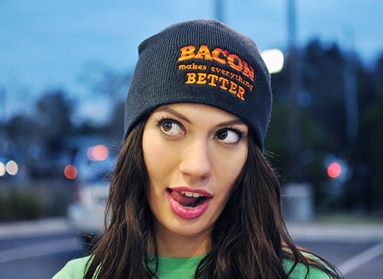 Bacon Makes Everything Better Beanie on Mens Hats