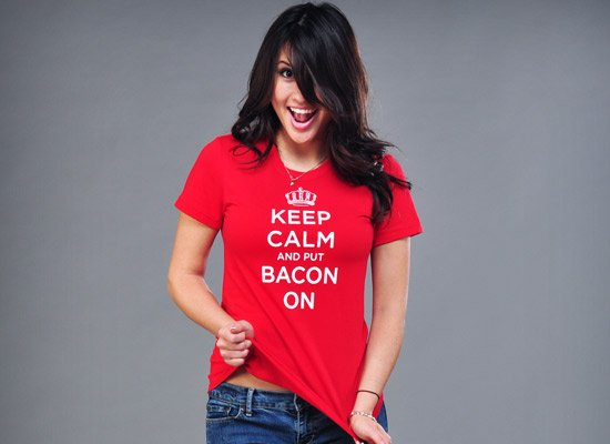 Keep Calm and Bacon On on Juniors T-Shirt