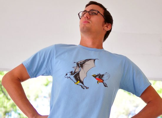 Bat And Robin on Mens T-Shirt