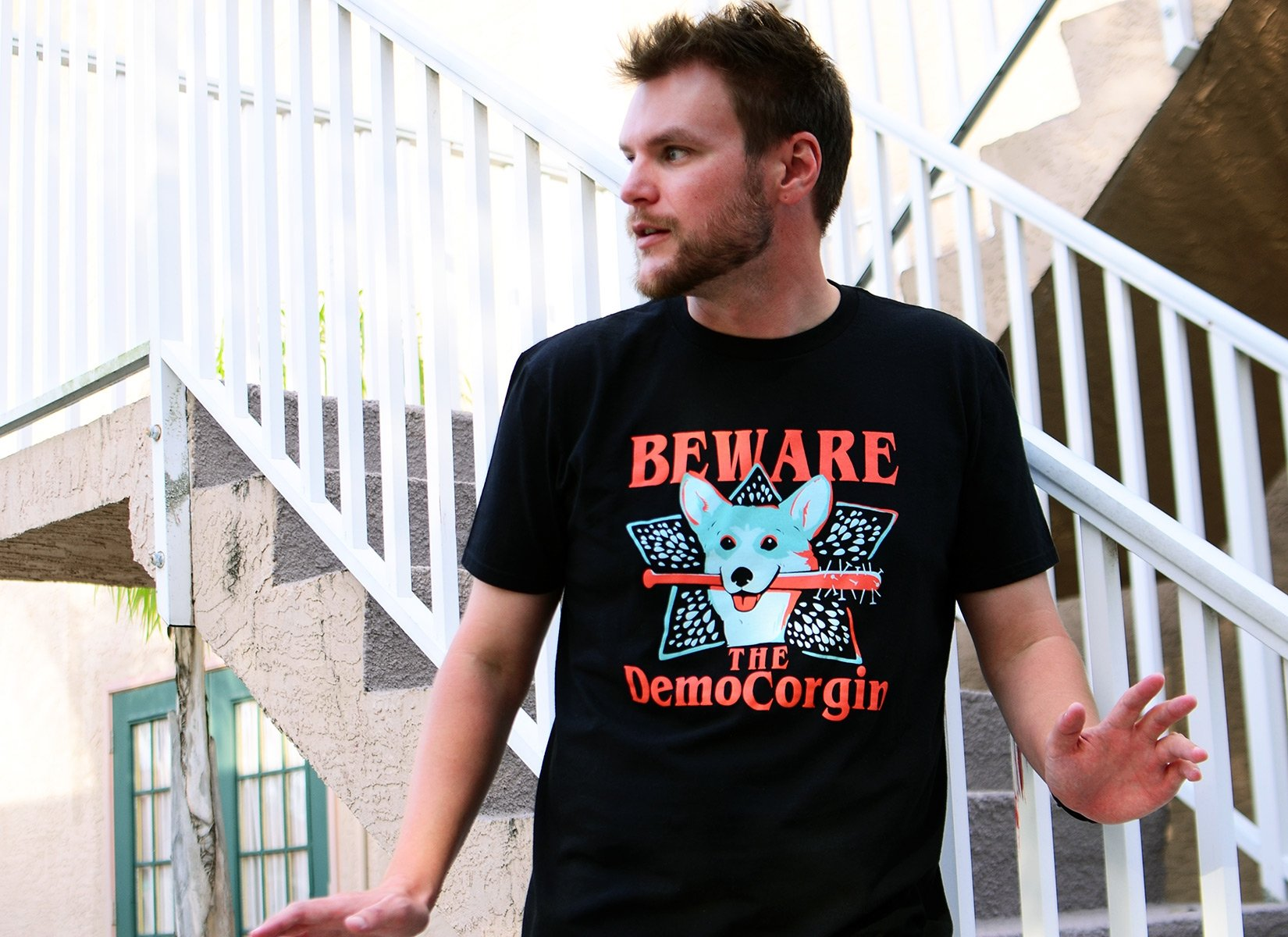 The DemoCorgin on Mens T-Shirt