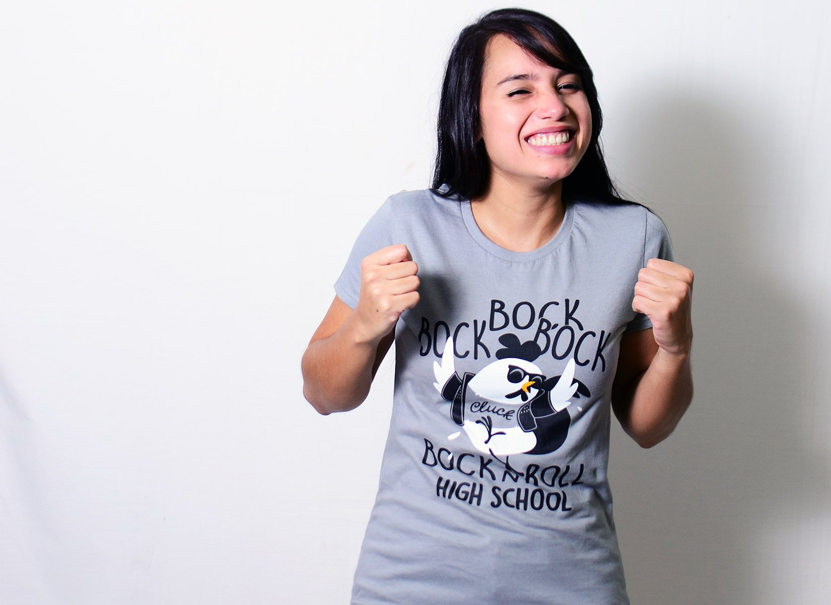 Bock n' Roll High School on Womens T-Shirt