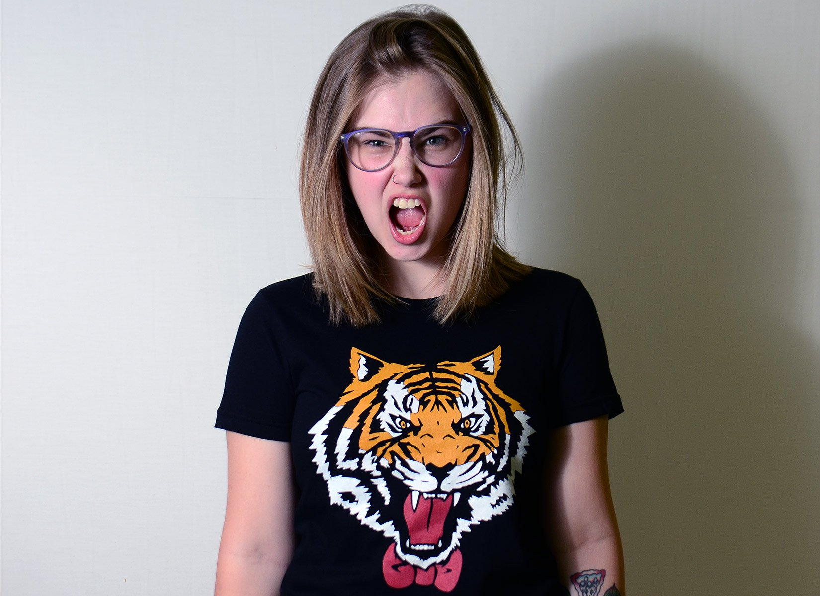 Tiger Bow Tie on Juniors T-Shirt