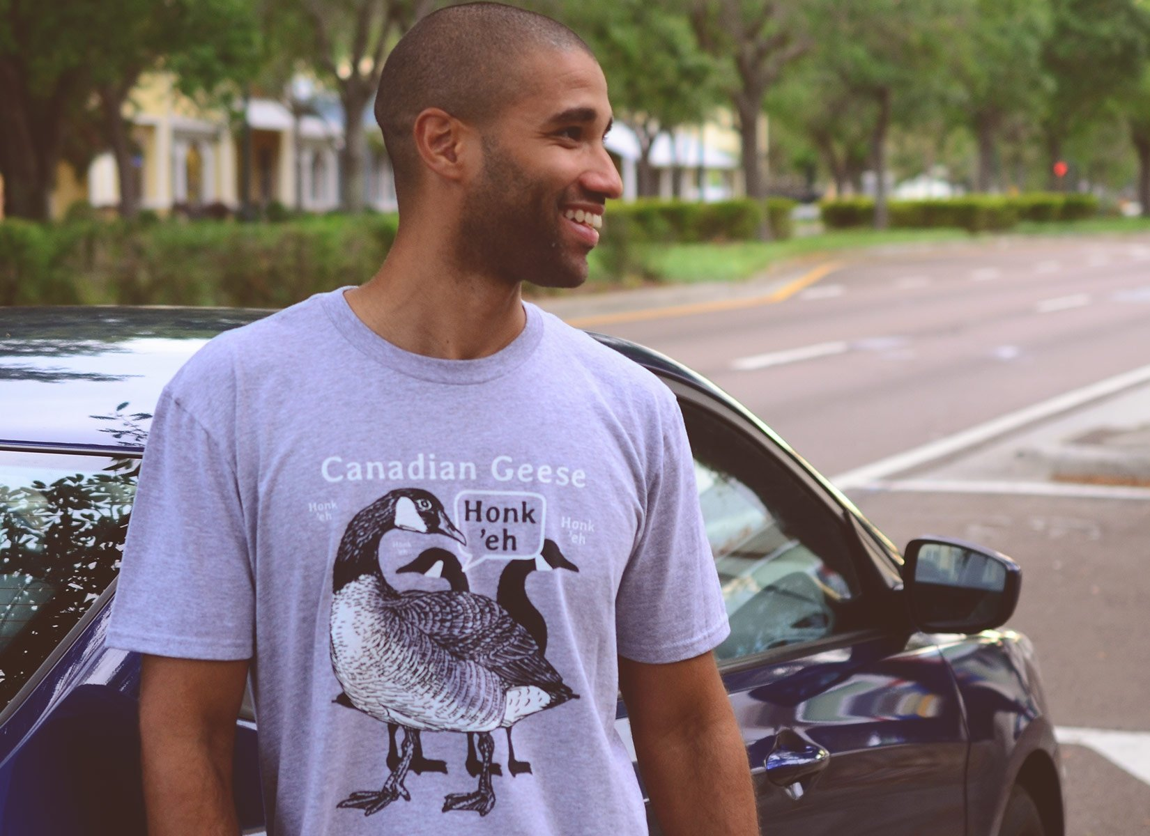 Canadian Geese on Mens T-Shirt
