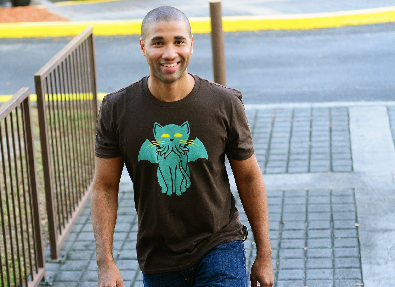 Cathulhu on Mens T-Shirt