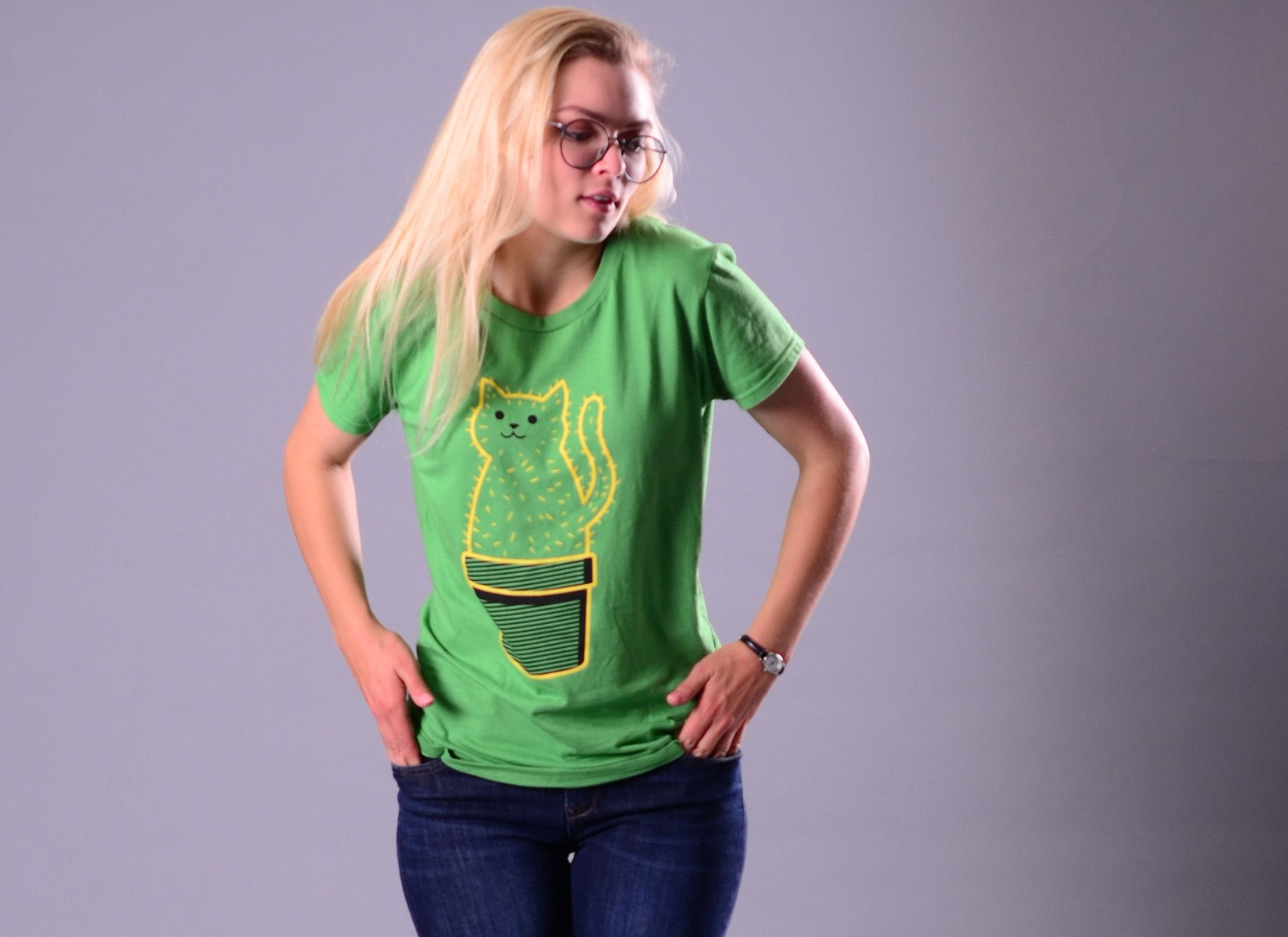 Catcus on Womens T-Shirt