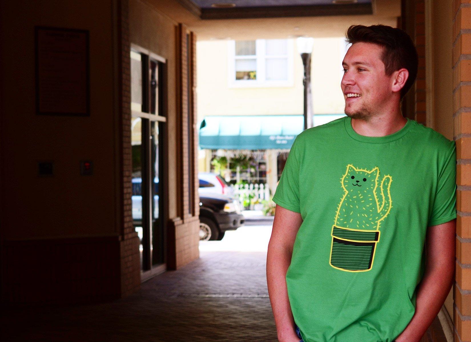 Catcus on Mens T-Shirt
