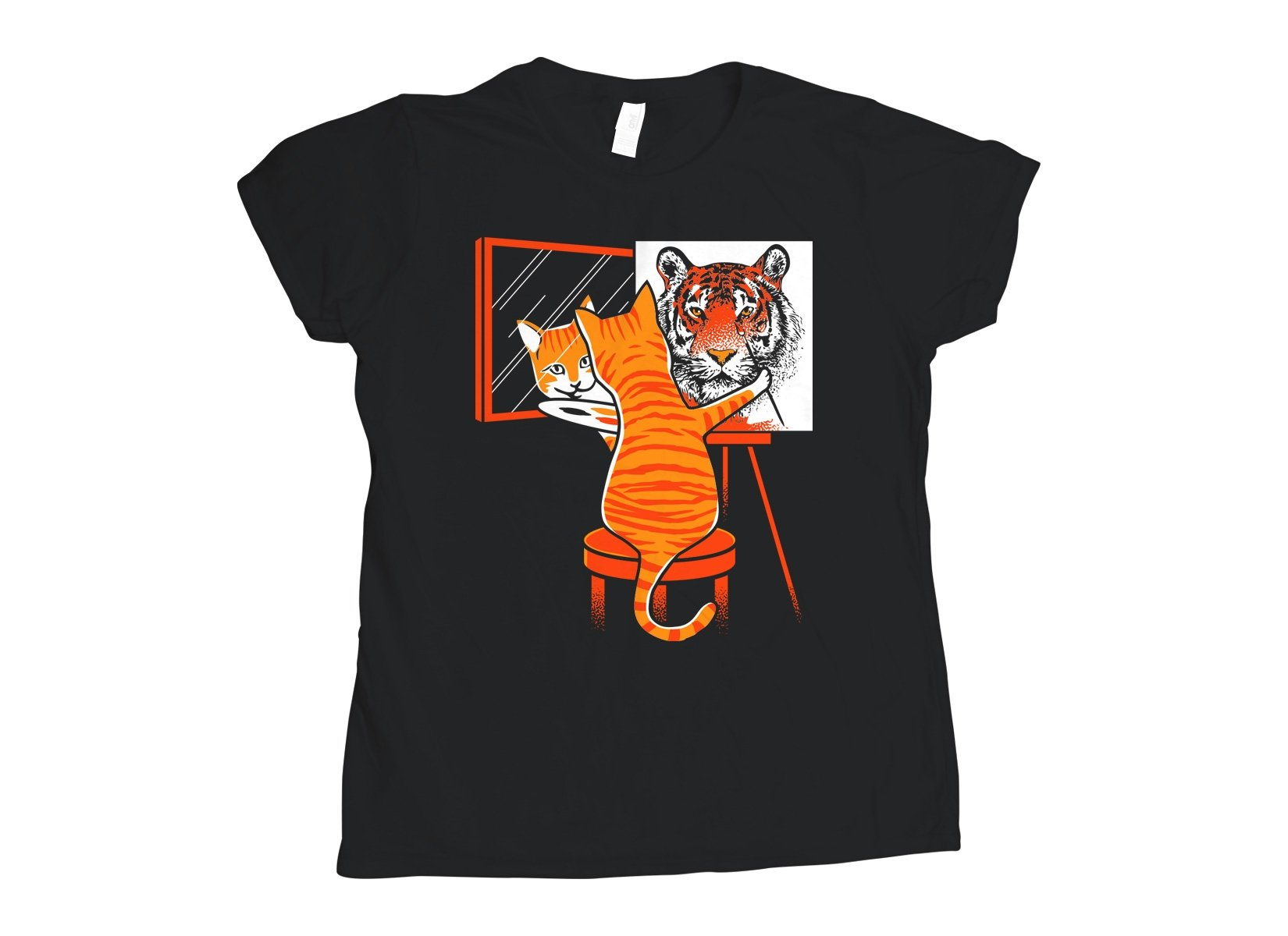 Cat Self Portrait on Womens T-Shirt