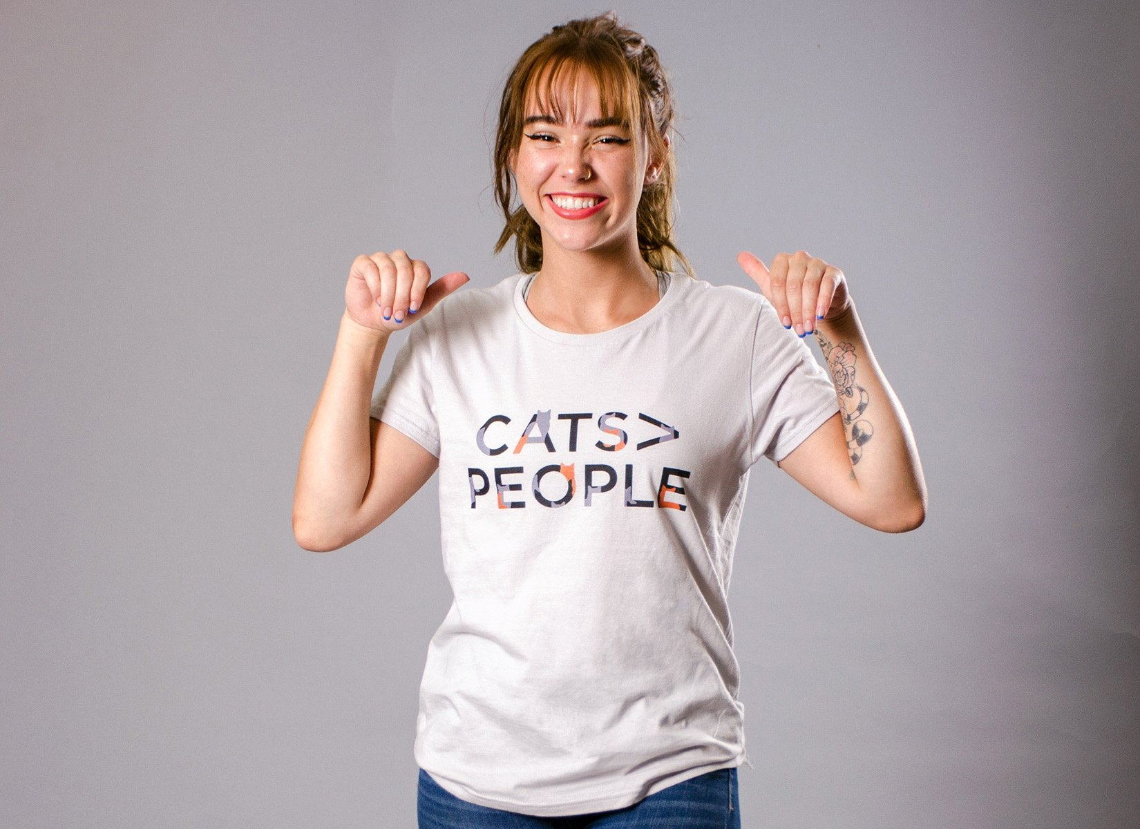 Cats>People on Womens T-Shirt