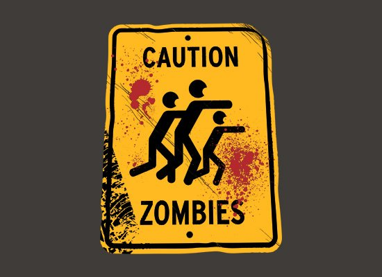 Caution Zombies on Mens T-Shirt