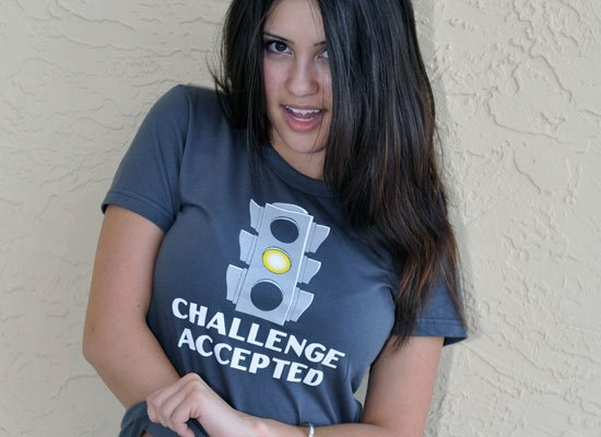 Challenge Accepted Stoplight on Juniors T-Shirt