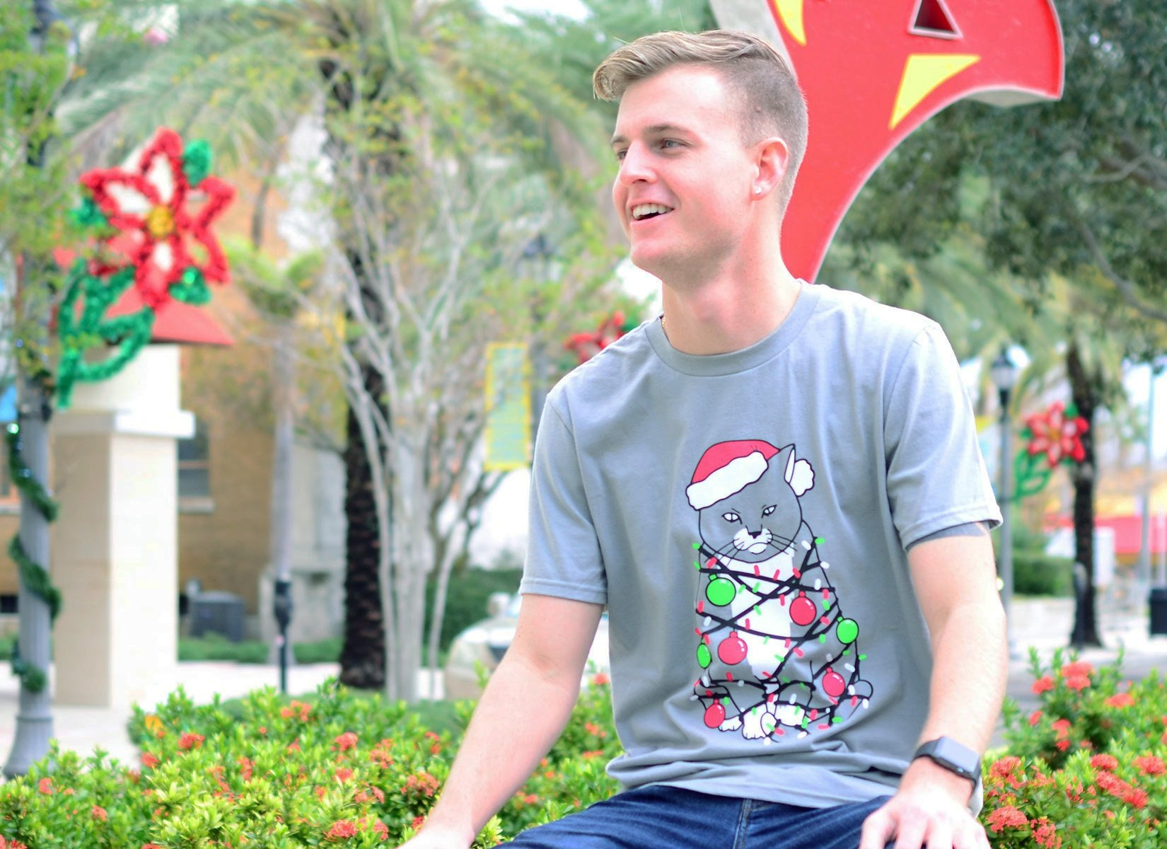 Meowy Christmas on Mens T-Shirt