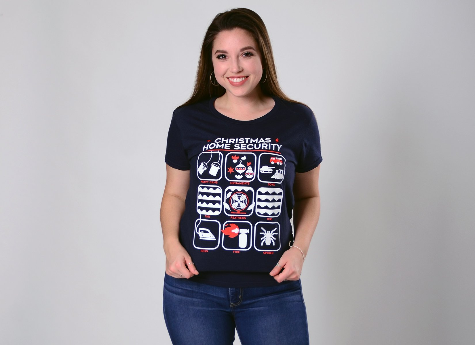 Christmas Home Security on Womens T-Shirt