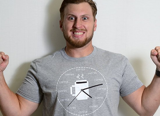 Coffee O'Clock on Mens T-Shirt