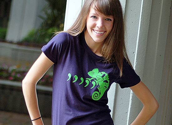 Comma Chameleon on Juniors T-Shirt