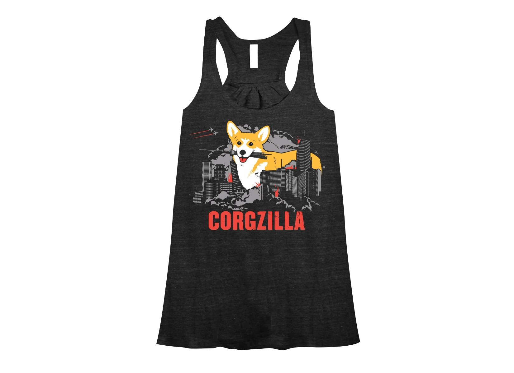 Corgzilla on Womens Tanks T-Shirt