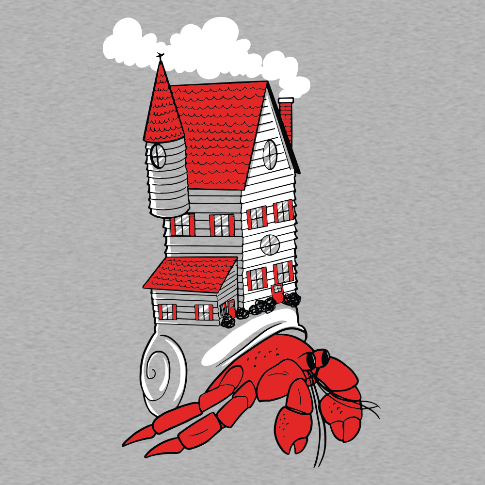 Hermit Home on Mens T-Shirt