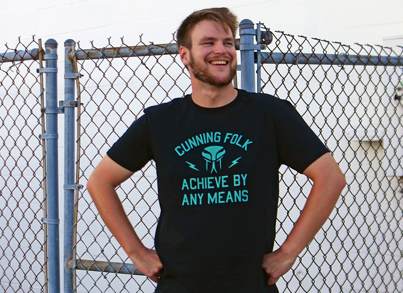 Cunning Folk Achieve By Any Means on Mens T-Shirt