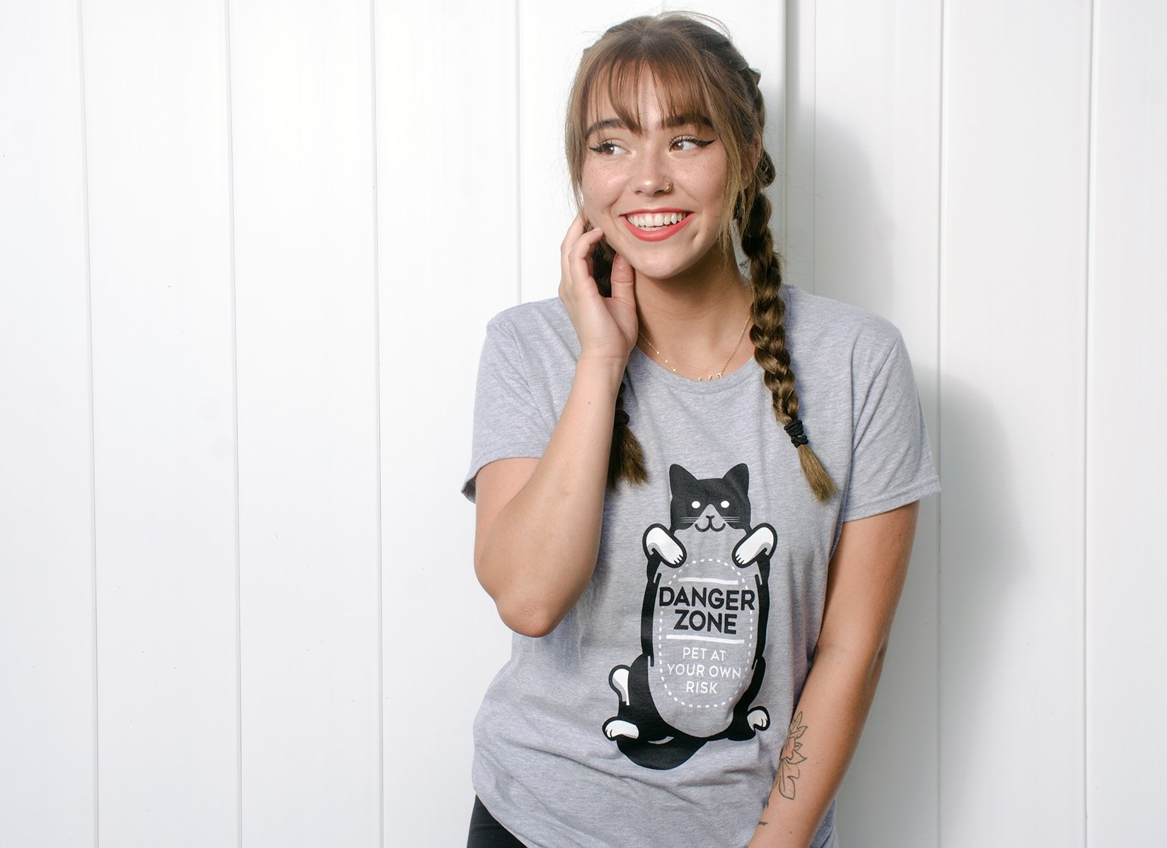 Cat Danger Zone on Womens T-Shirt