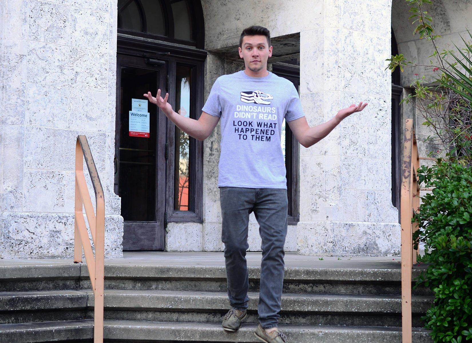 Dinosaurs Didn't Read on Mens T-Shirt