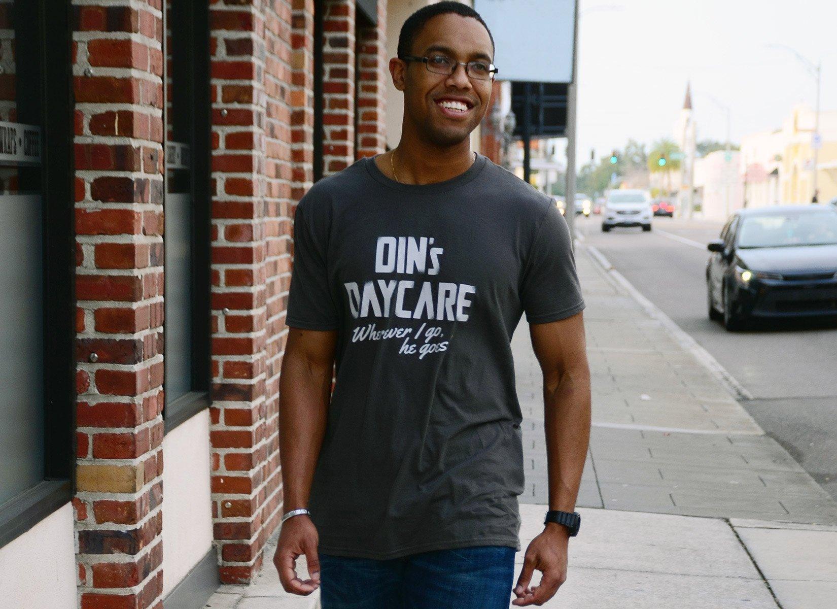 Din's Daycare on Mens T-Shirt