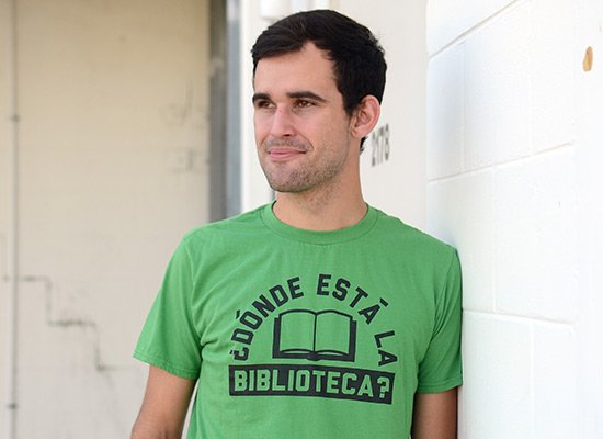 Donde Esta La Biblioteca? on Mens T-Shirt