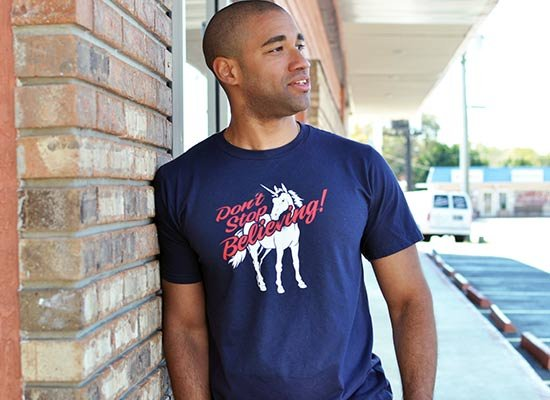 Don't Stop Believing Unicorn on Mens T-Shirt