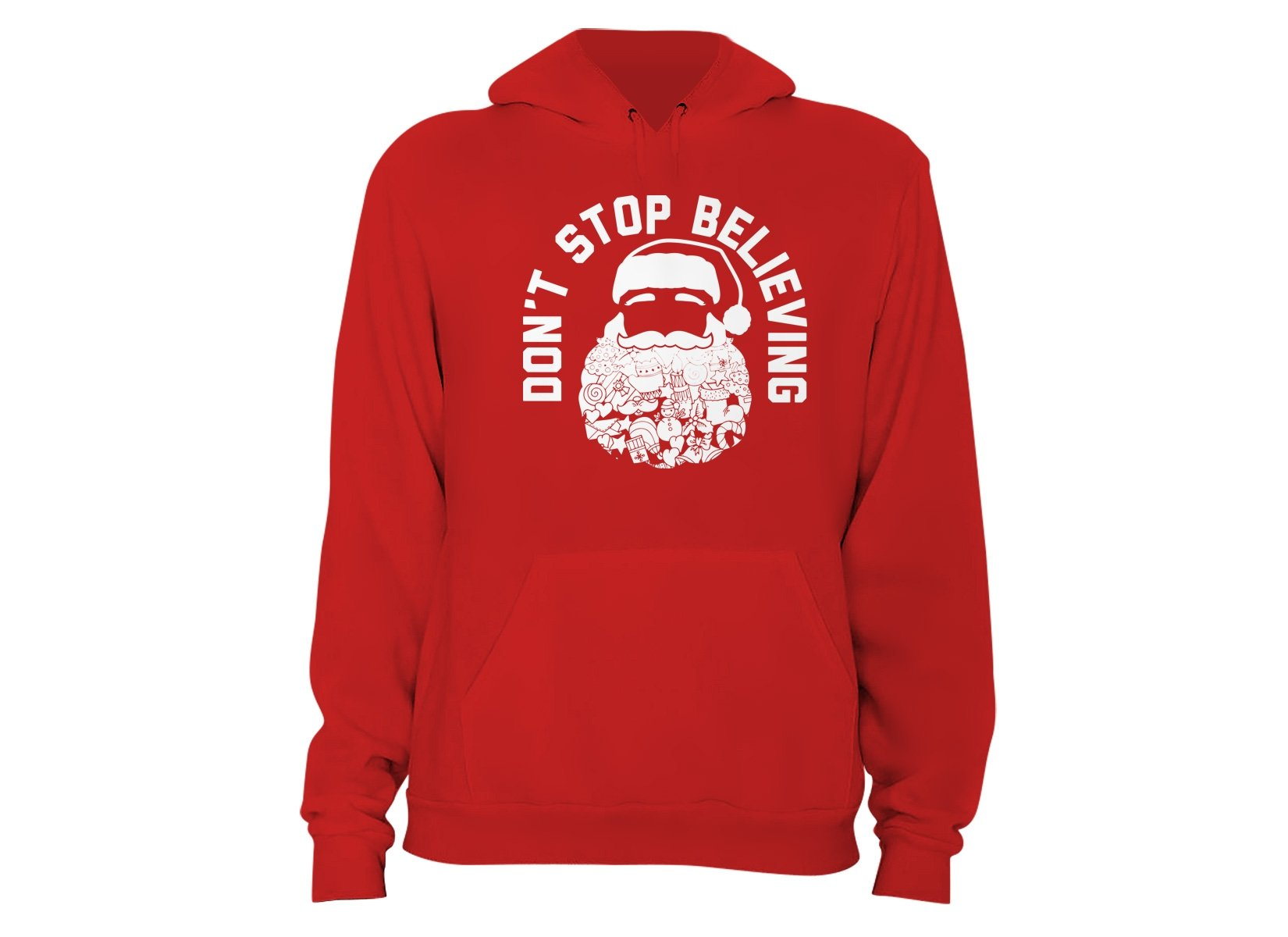 Don't Stop Believing Santa on Hoodie