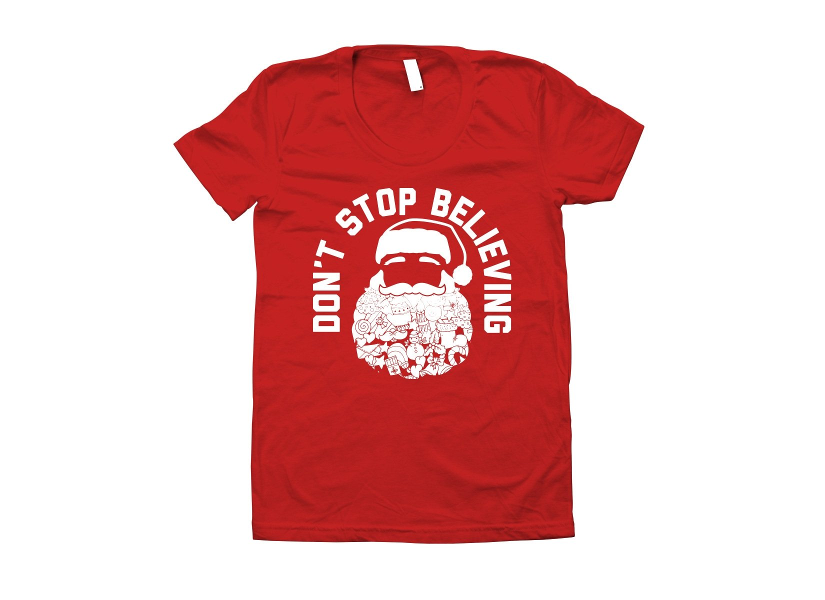 Don't Stop Believing Santa on Juniors T-Shirt