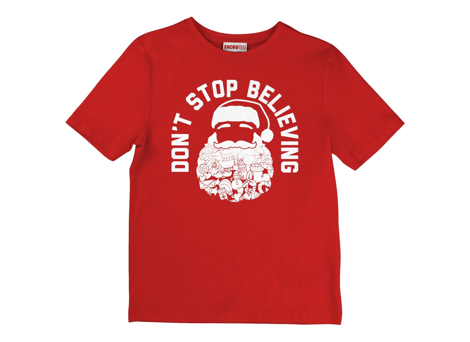 Don't Stop Believing Santa on Kids T-Shirt