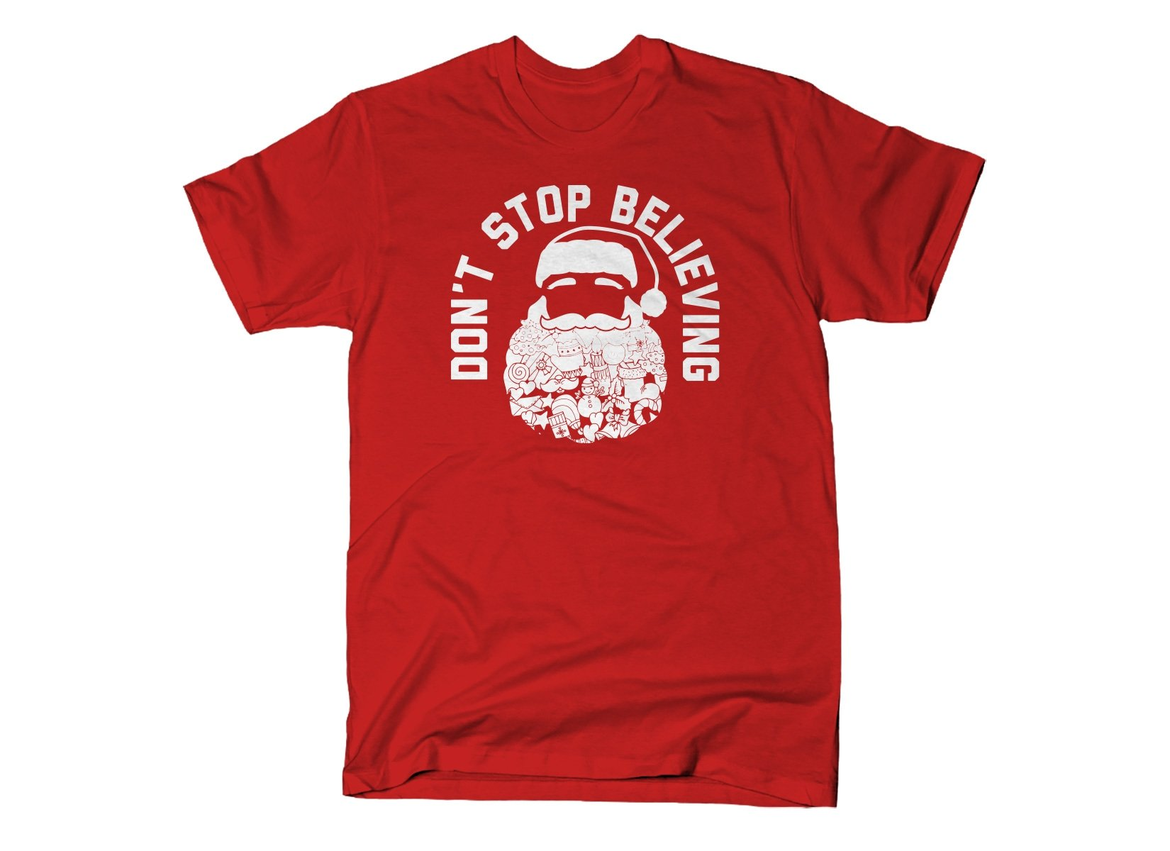 Don't Stop Believing Santa on Mens T-Shirt