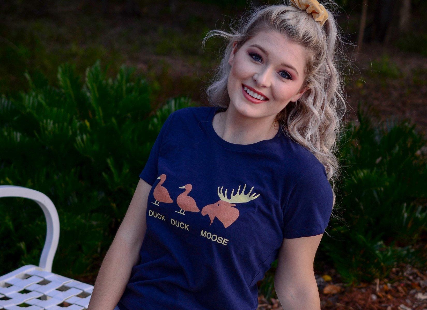 Duck Duck Moose on Womens T-Shirt