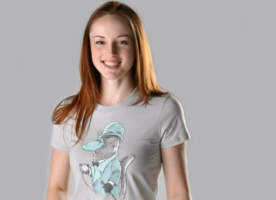 Duke Platypus on Juniors T-Shirt