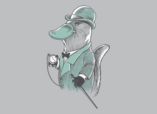 Duke Platypus on Mens T-Shirt