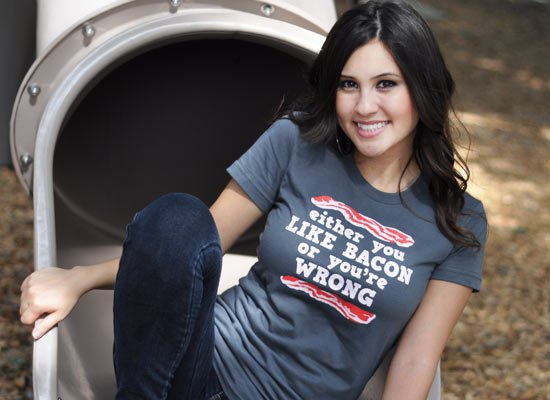 Either You Like Bacon Or You're Wrong on Juniors T-Shirt