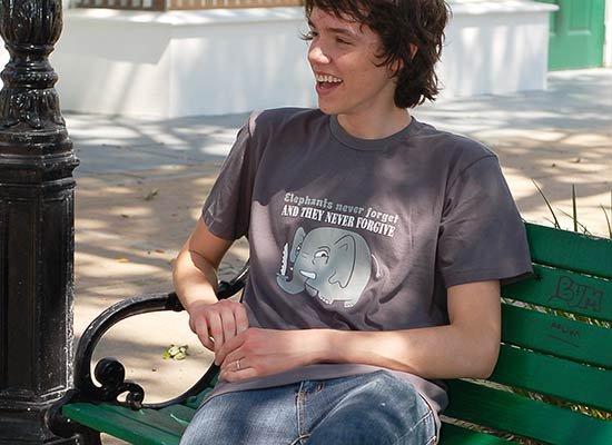 Elephants Never Forgive on Mens T-Shirt