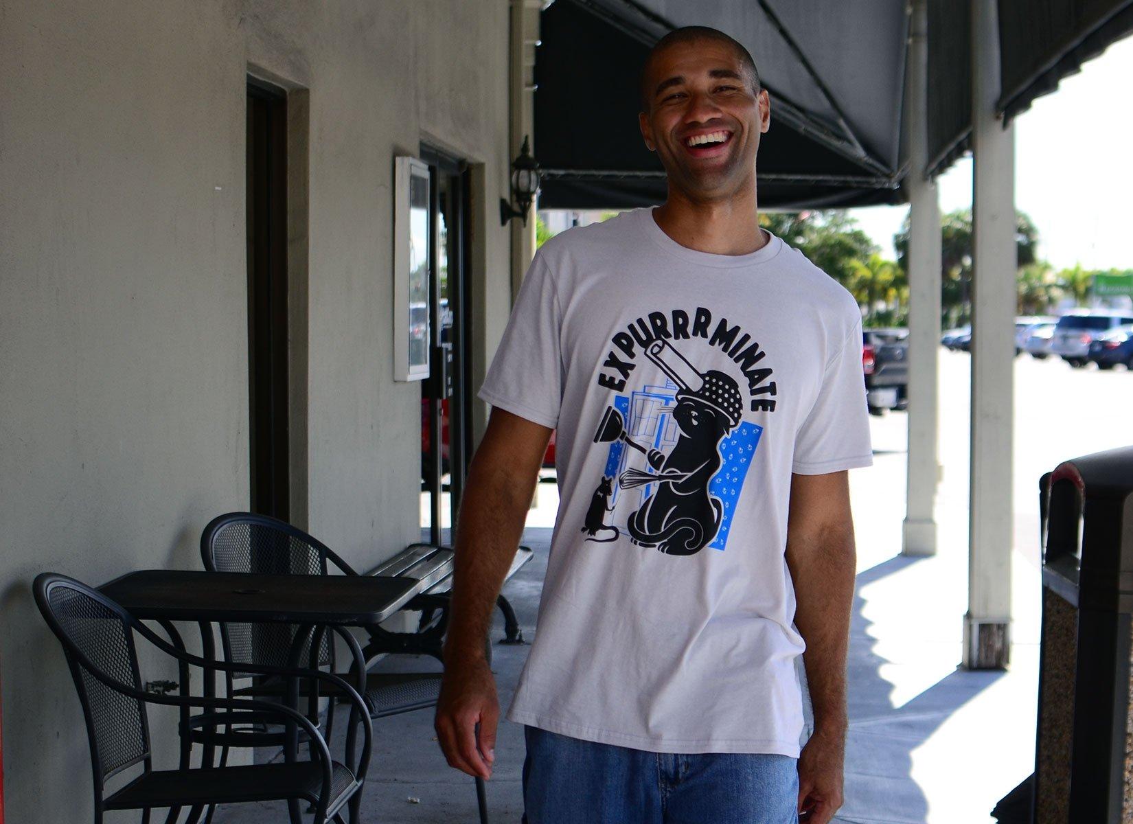 Expurrrminate on Mens T-Shirt