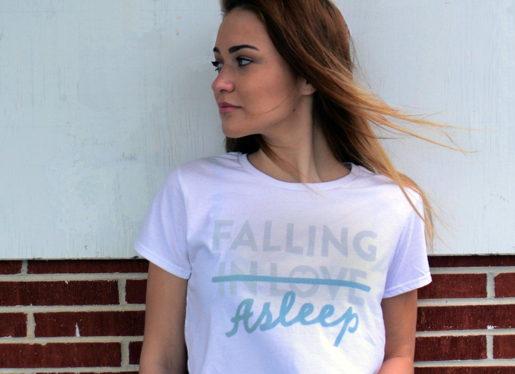 Falling Asleep on Womens T-Shirt
