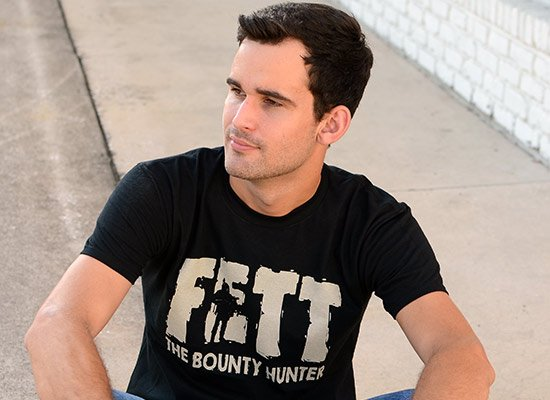 Fett, Bounty Hunter on Mens T-Shirt