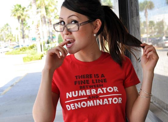 There Is A Fine Line Between Numerator And Denominator on Juniors T-Shirt
