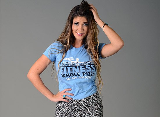 More Like Fitness Whole Pizza In My Mouth on Juniors T-Shirt